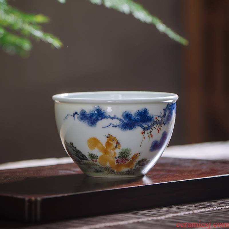 Owl up jingdezhen blue and white buckets enamel high - end hand - made of ceramic tea set master cup cup kunfu tea sample tea cup