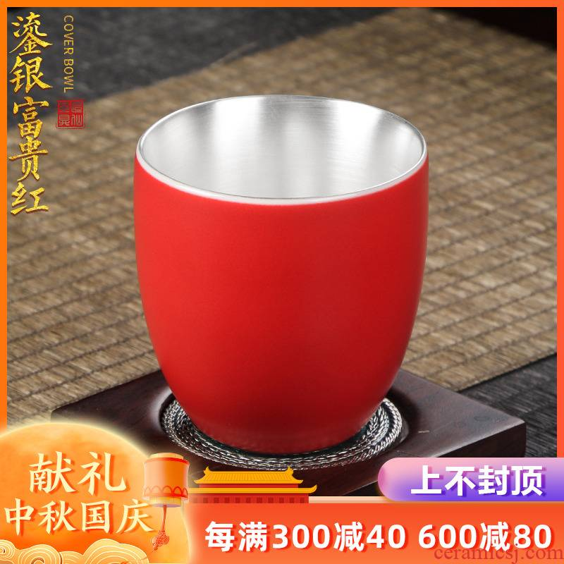 Artisan fairy 999 sterling silver cup ceramic household coppering. As silver cup pure manual kung fu tea masters cup sample tea cup