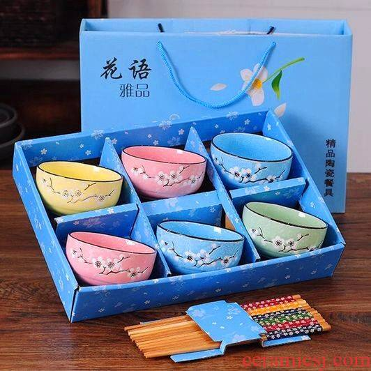 The kitchen bowl of Japanese household ceramic bowl chopsticks job hand - made ceramic bowl of clubs tableware suit activities gift gift box