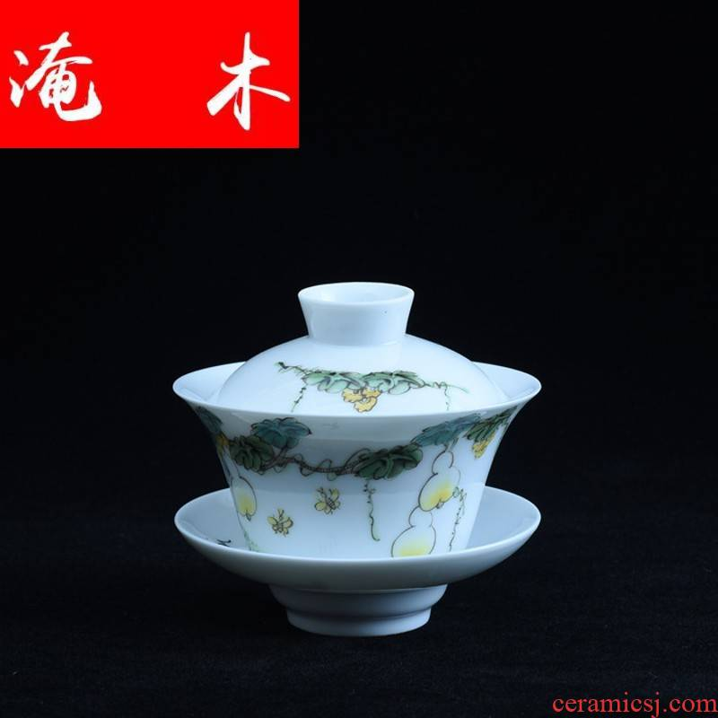 Submerged wood hand - made calligraphy and painting enamel tureen jingdezhen ceramic cup bowl only three cups of tea kungfu tea set to hand
