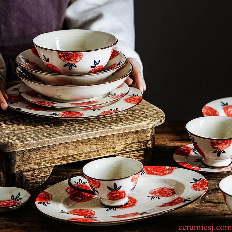 Nordic household ceramics tableware cup dish meal bowl of soup bowl of salad bowl dessert plate series tableware roses