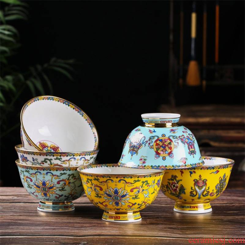 Ipads porcelain bowl with single hand paint edge rainbow such as bowl of porridge to use tall bowl of soup bowl Chinese style of the ancients tableware bowls