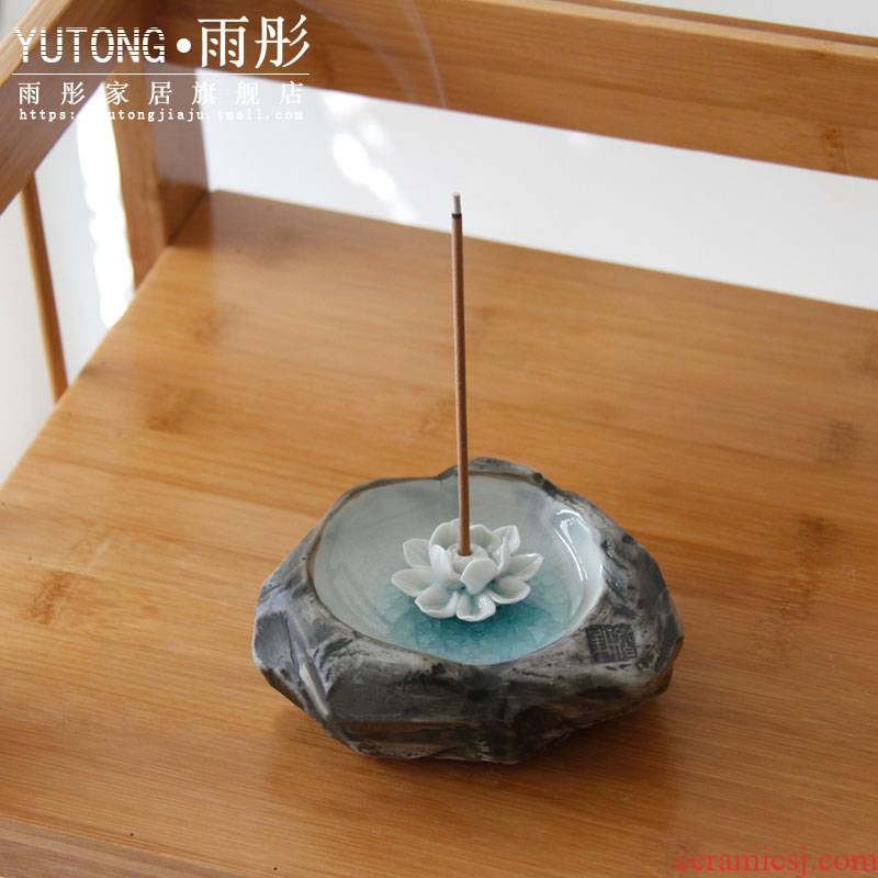 Joss stick incense inserted the present handicraft of jingdezhen ceramics zen lotus ice cracked piece of fragrant incense seat tray of furnishing articles
