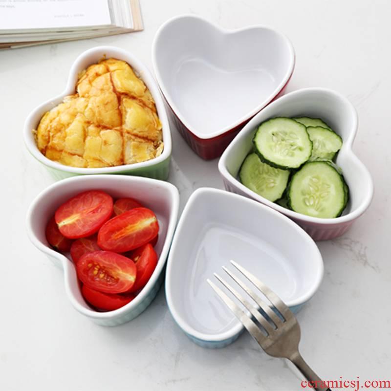 Always use for shu fu love shape bake a cake, dessert, ceramic baked porcelain boring salad Bowl cheese oven bud heart