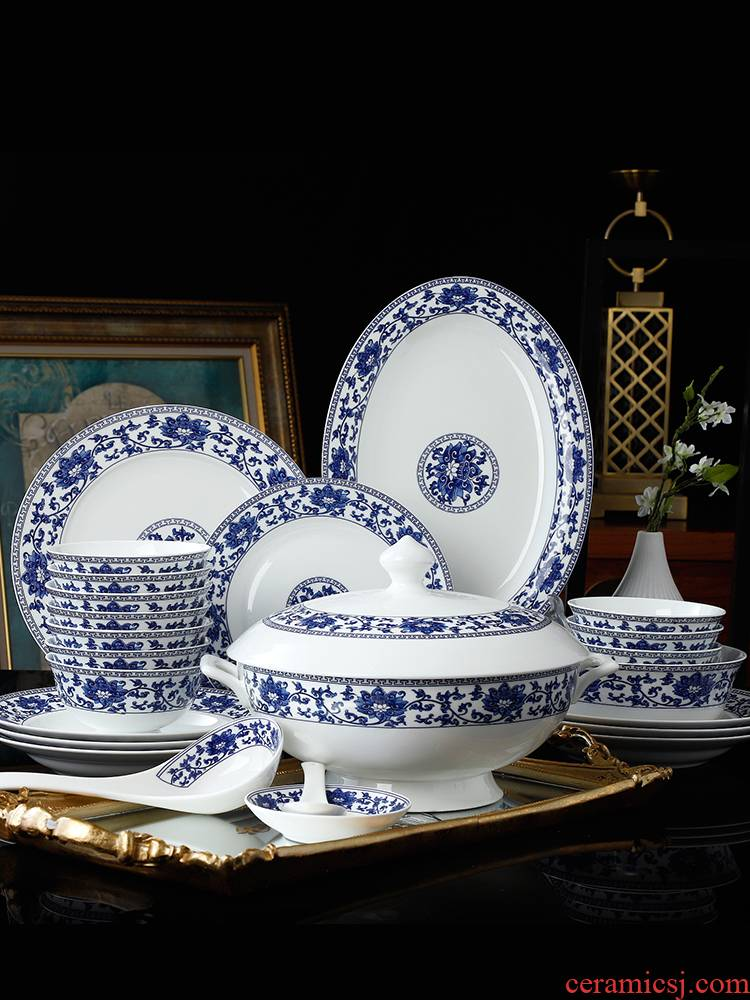 Dishes suit household jingdezhen ceramic ipads China tableware Chinese high - end Dishes chopsticks combination of blue and white porcelain bowl