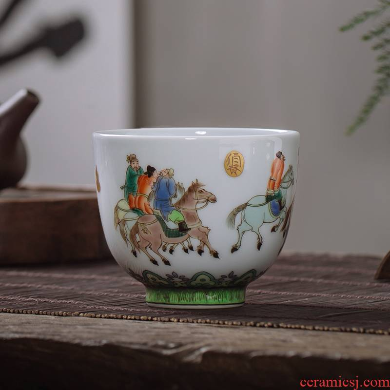 Owl up with jingdezhen ceramic tea set hand - made teacup archaize color kongfu master cup single cup classic characters