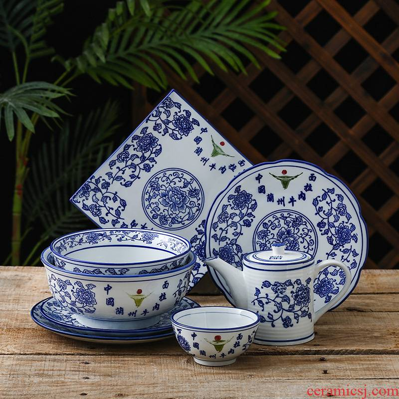 Blue and white rainbow such as bowl noodles soup bowl bowl special porcelain ltd. restoring ancient ways in lanzhou ramen ceramic bowl