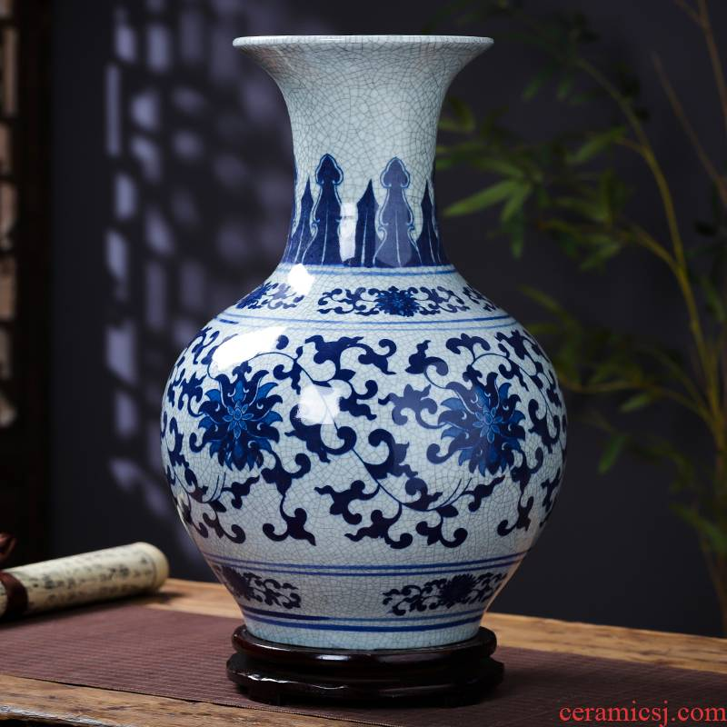 Jingdezhen blue and white porcelain vase furnishing articles flower arranging archaize sitting room ceramics up with Chinese style household decorative arts and crafts
