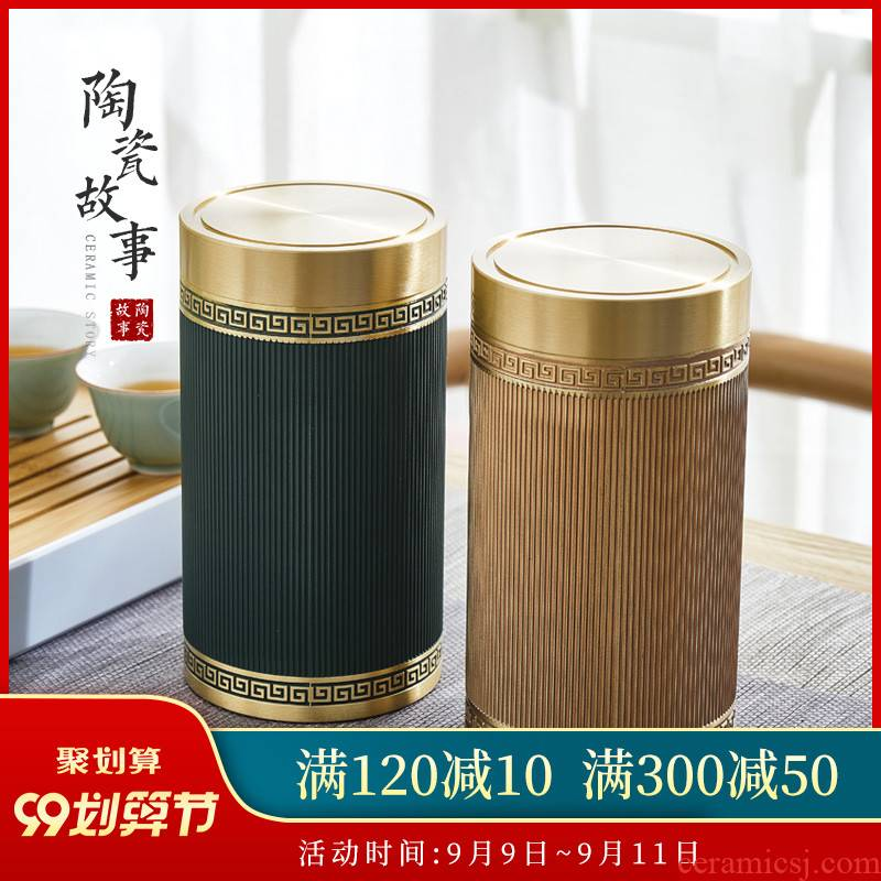 Pure brass ceramic story pu 'er tea pot size seal storage POTS stock POTS kung fu tea accessories
