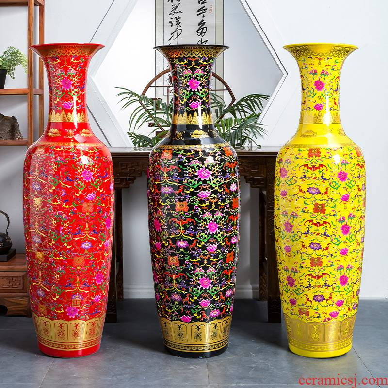 Jingdezhen ceramics China red vase of large sitting room adornment high place heavy large opening gifts