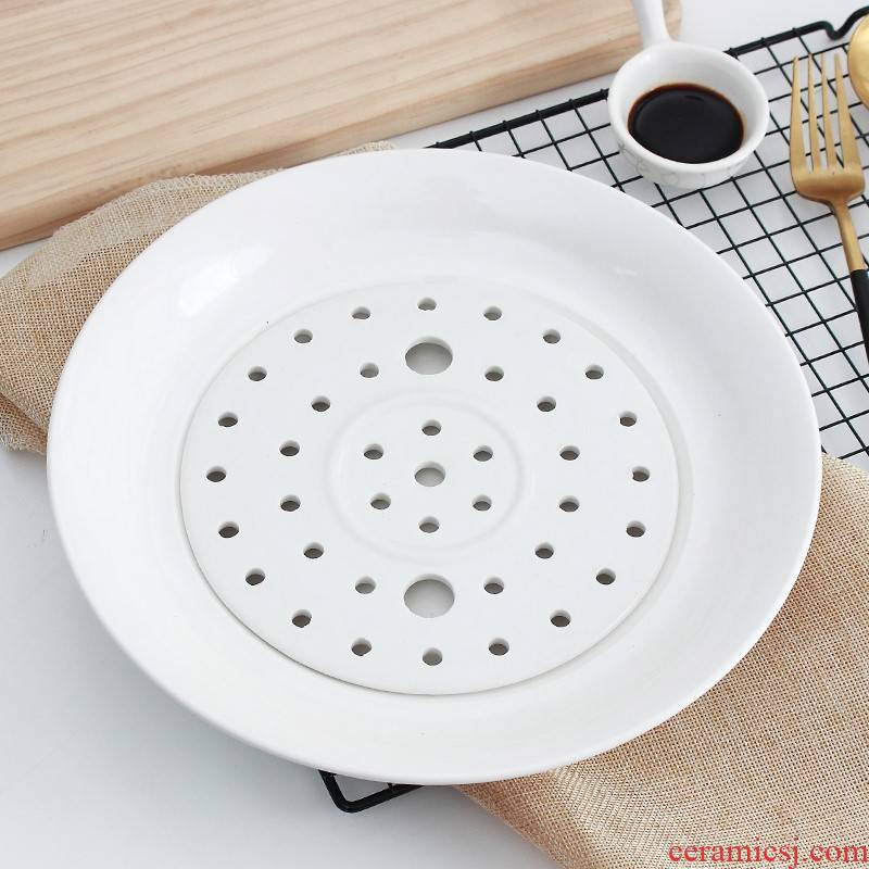 The kitchen ipads China dumplings plate waterlogging under caused by excessive rainfall double drive, dumplings plate ceramic fruit dish dish tray steamed dish of household