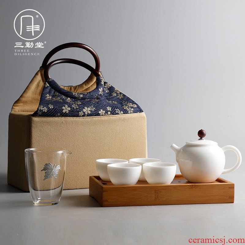 The three frequently kung fu teapot teacup justice cup tea tray was jingdezhen ceramic tea set ST1007 portable travel
