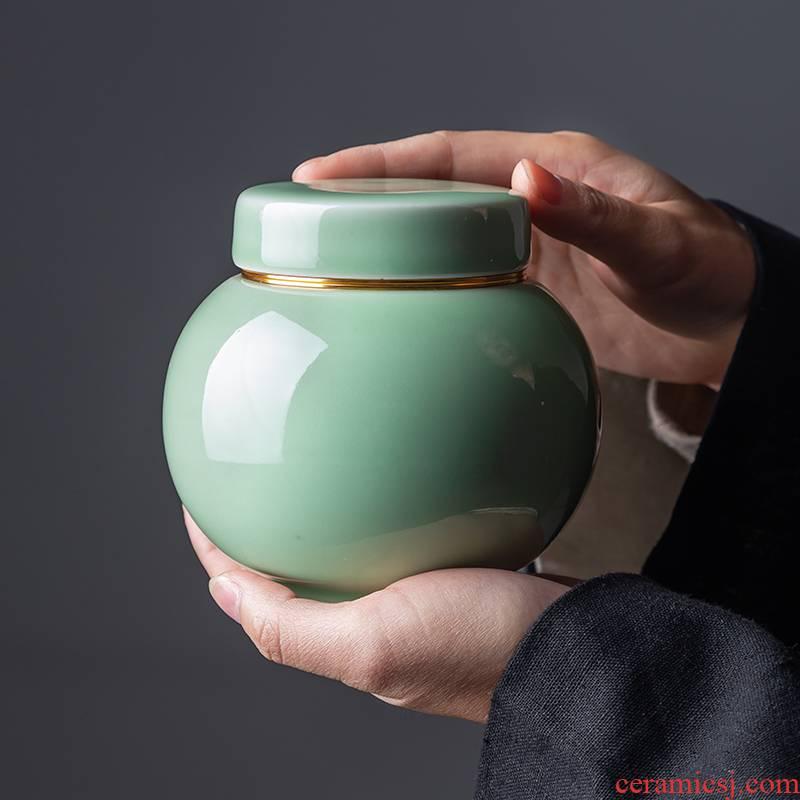 Portable metal caddy fixings tea boxes mini household seal trumpet pu - erh tea store receives ceramic celadon