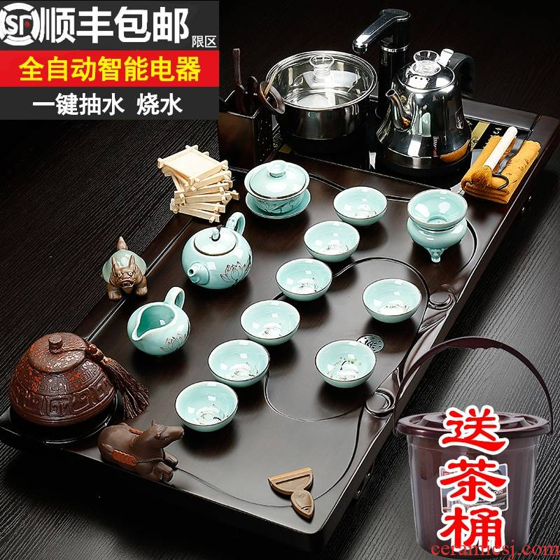 Qiao mu violet arenaceous kung fu tea set home office ceramic teapot teacup electric tea tea solid wood tea tray