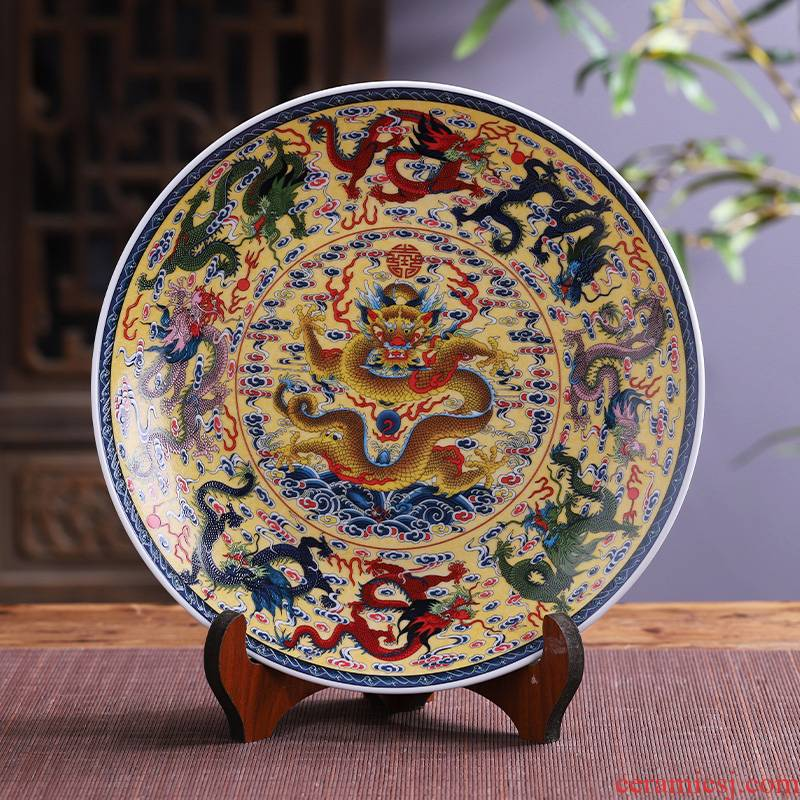 Jingdezhen porcelain ceramic figure, Kowloon feng shui hang dish large decorative plate of new Chinese style household adornment furnishing articles
