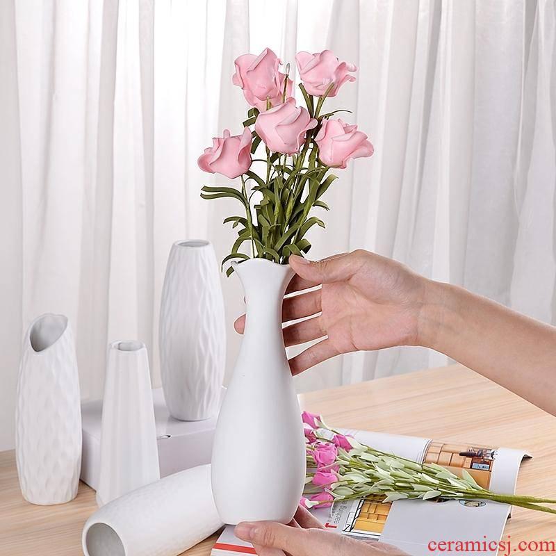 Flowers is color screen ceramic flower arranging Nordic pot - bellied vases, ceramic slender white Flowers screen cylinder circular pattern