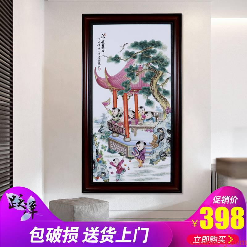 Jingdezhen porcelain plate painting blessing gift porcelain painting people home sitting room hangs a picture background wall office decoration