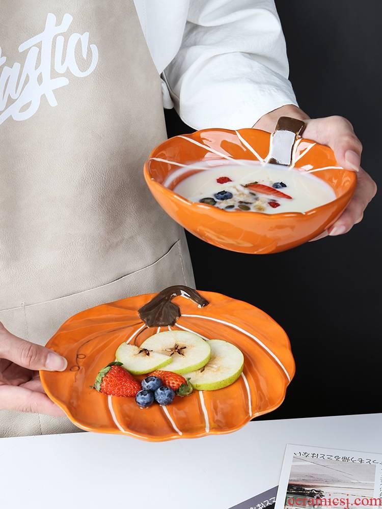 Creative move pumpkin bowl of domestic ceramic express baby side dish bowl children tableware fruit salad bowl bowl for breakfast
