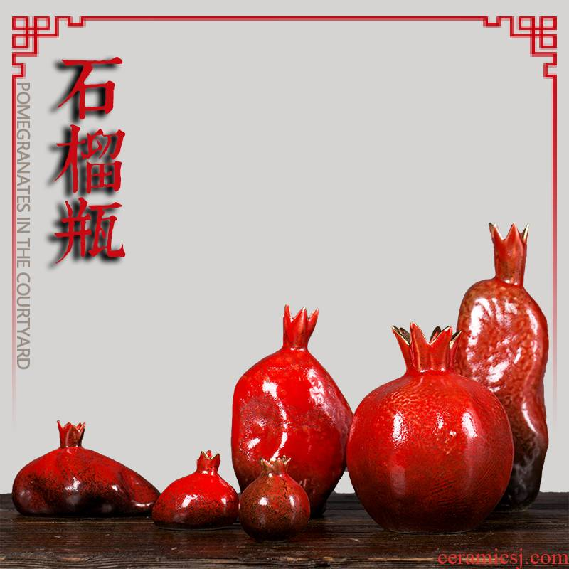 Jingdezhen ceramic furnishing articles red pomegranate flower implement bottle on the desktop to decorate household act the role ofing is tasted