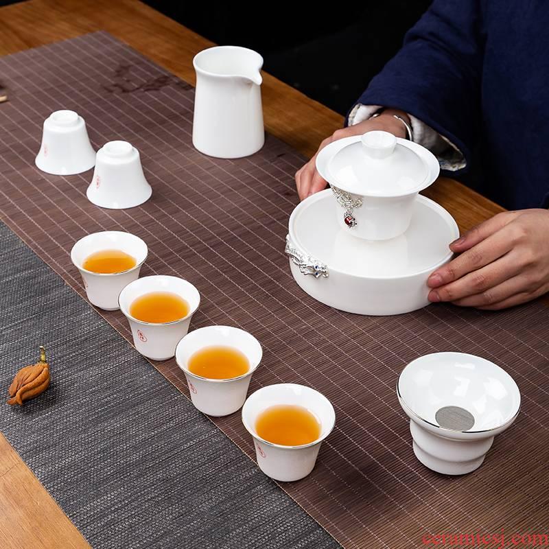 White porcelain touch the floor clearance 】 【 kung fu tea set household jingdezhen ceramic tea tureen teapot