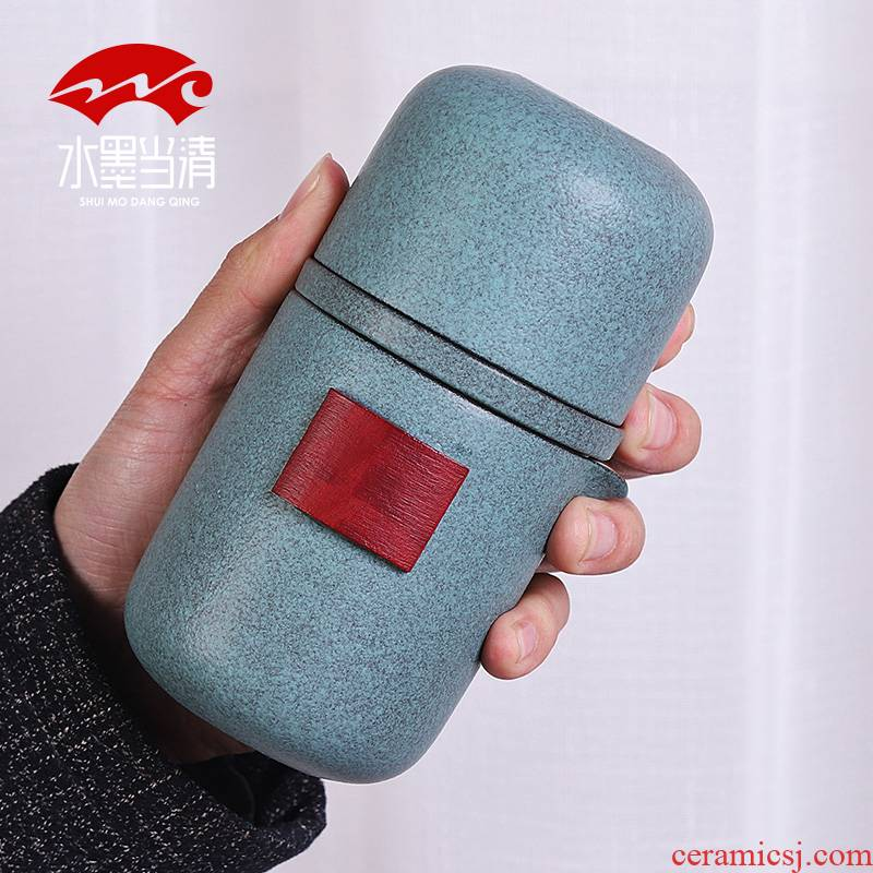 Coarse now pot four cups of portable package travel tea set suit household simple Japanese ceramic crack cup is suing travel