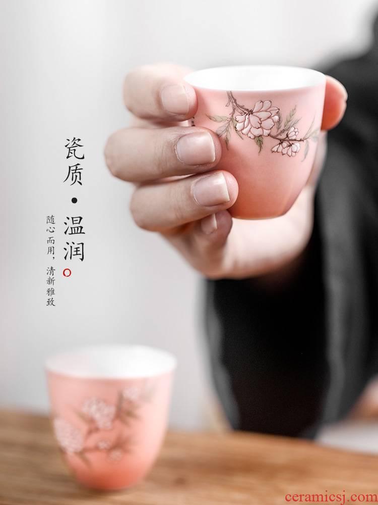 Jingdezhen hand - made ceramic sample tea cup kung fu noggin master cup single CPU getting checking pink pear flower tea