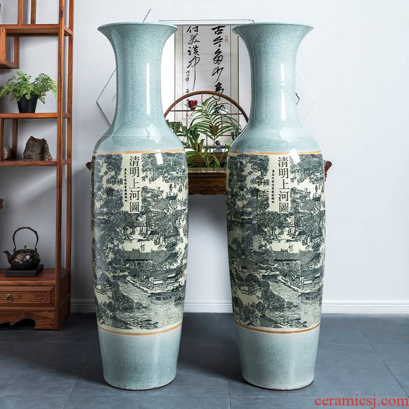 Archaize crack of jingdezhen ceramics glaze qingming scroll large vase furnishing articles furnishing articles sitting room ground decoration