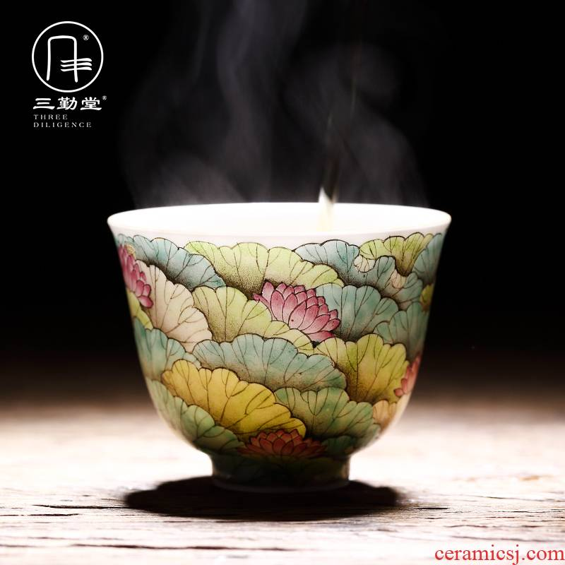 Three frequently hall master cup a single cup of jingdezhen ceramic cups kung fu tea cup S42003 pastel work full lotus