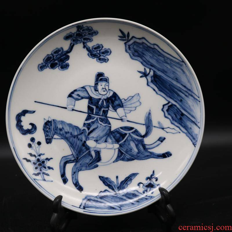 Jingdezhen blue and white war characters of the reign of emperor kangxi antique porcelain dish hand - made furniture of Chinese style furnishing articles antique collection