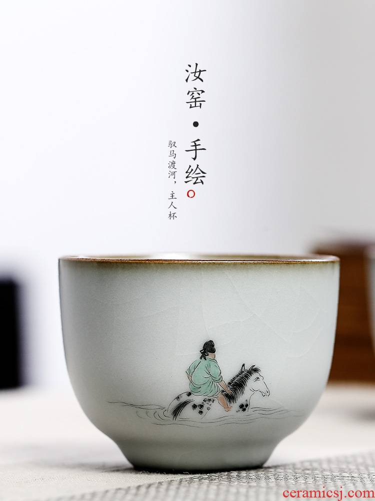 Your up hand - made teacup horse cross the river, the master cup sample tea cup single cup pure manual jingdezhen ceramic kung fu tea set