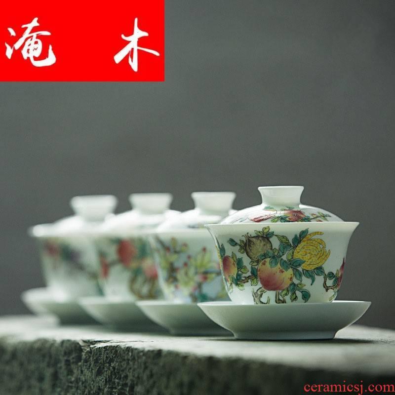 Submerged wood tea large tureen thin foetus flower three bowl of worship cups of jingdezhen hand - made ceramic tea set