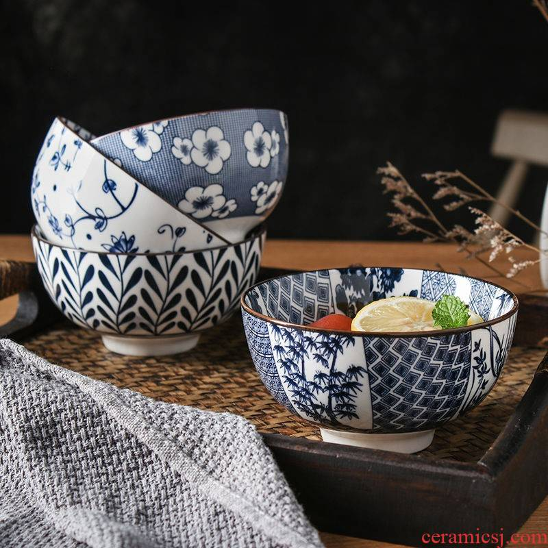 The kitchen retro 4 pack 】 【 ceramic bowl with 4.5 inch rice bowls Japanese creativity tableware suit small