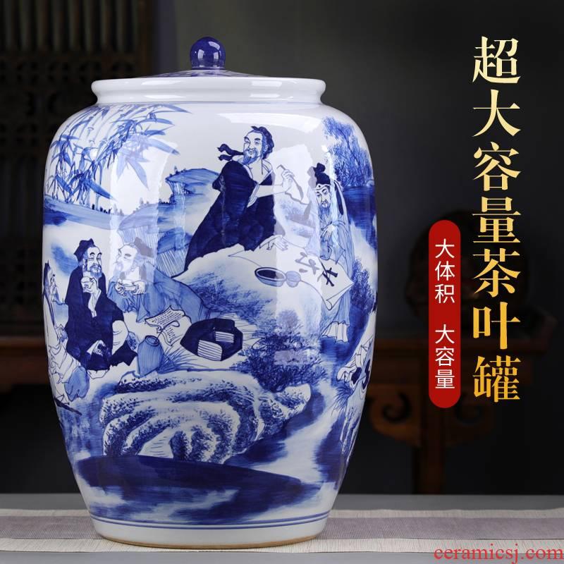 Jingdezhen hand made blue and white porcelain tea pot size large pu 'er tea cake storage tanks to heavy cylinder code tea bucket