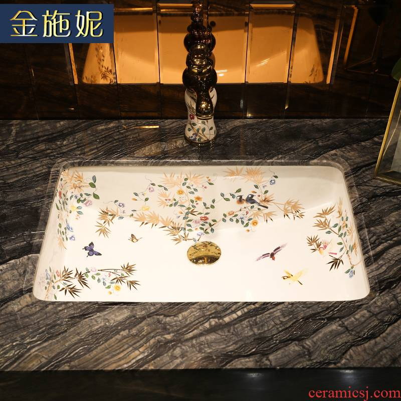 Girls, flower art ceramics embedded undercounter square toilet lavabo for wash a face to face basin household balcony