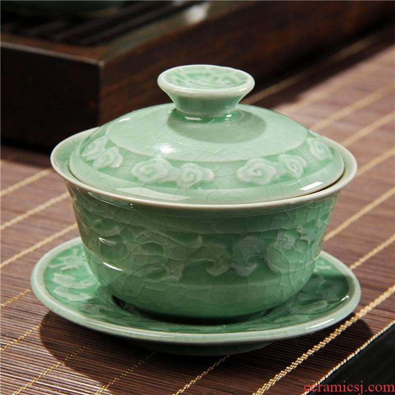 Qiao mu coarse TaoGe of blue and white porcelain up celadon up large kung fu tea set three bowl of tea bowl of tea tureen