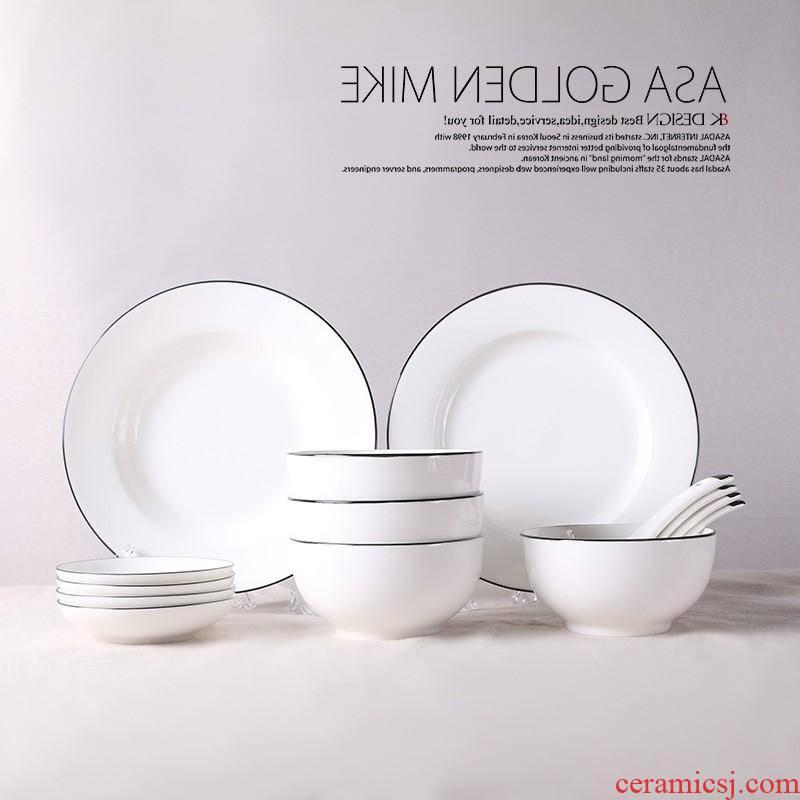 The kitchen bowl chopsticks tableware ceramic bowl dish dish hotel gift set hand touchline job new dishes