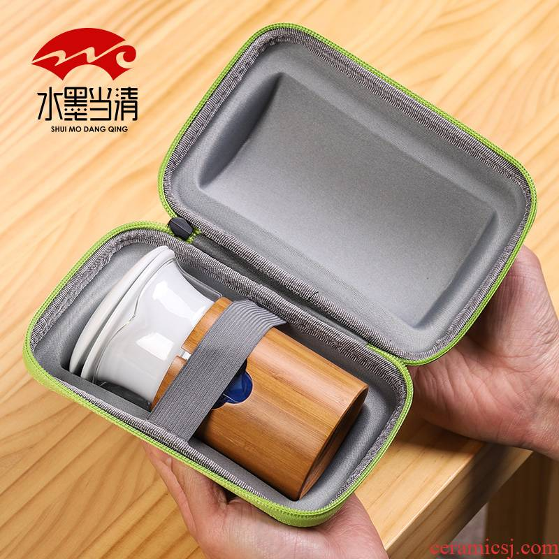 Kung fu tea glass travel suit portable receive packages a pot of three cups of ceramic Japanese simple is suing travel