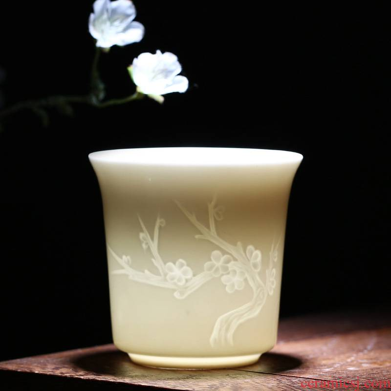 The kitchen dehua white porcelain sample tea cup by patterns ceramic cups master cup of large single CPU