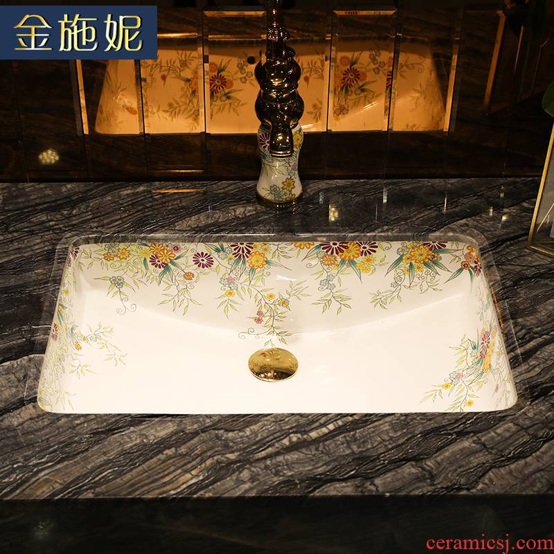 European contracted undercounter square lavatory embedded basin sink ceramic bathroom sinks household