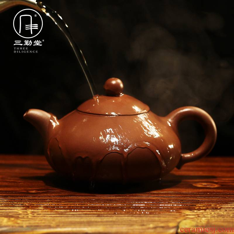 The three frequently yixing authentic famous it all hand cream pot of run of mine ore purple clay teapot kung fu tea set