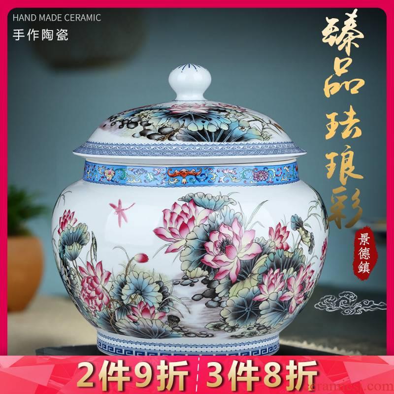 Jingdezhen ceramic tea pot large antique colored enamel wake pu 'er tea cake as cans moistureproof with cover storage tank