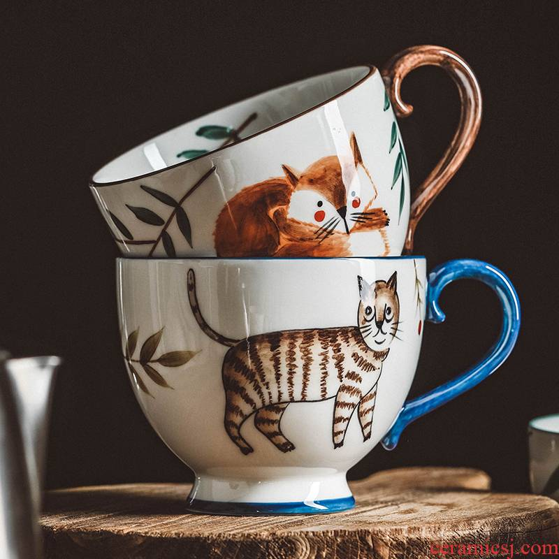 Restoring ancient ways is the large capacity of forest animals ceramic keller cup with cover and lovely move creative trend coffee cup