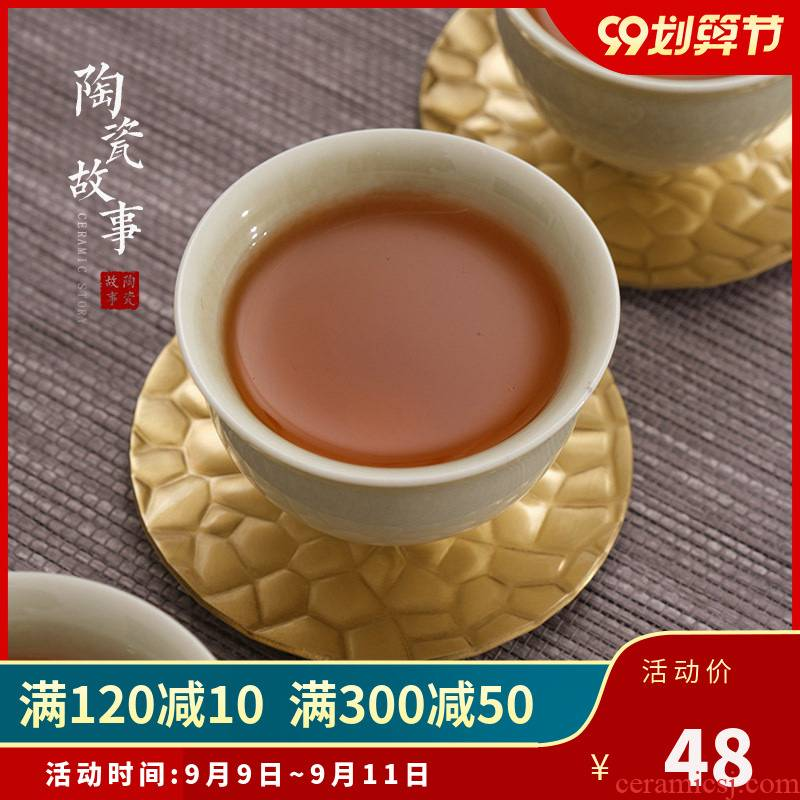 Ceramic story pure copper saucer coasters metal vintage Japanese hammer creative accessories kung fu tea set with zero