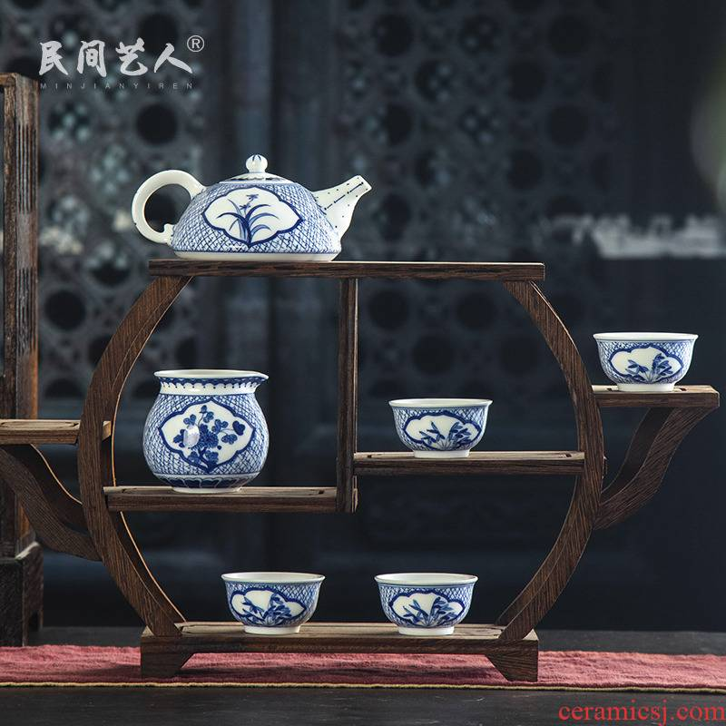 The Was a complete set of kung fu tea set jingdezhen blue and white hand - made ceramic teapot teacup suit household fair keller