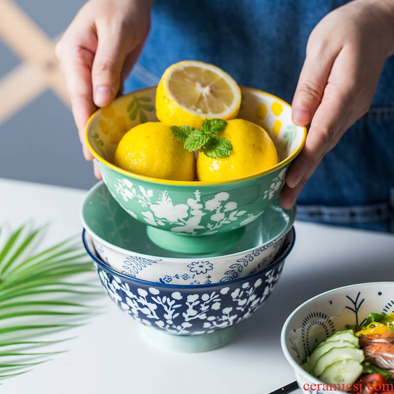 Japanese 6 inches tall bowl large anti hot household ceramic bowl move rainbow such as bowl bowl of fruits and vegetables salad bowl