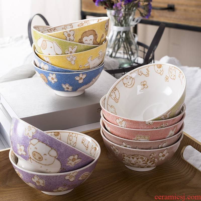 Jingdezhen 12 zodiac bowl of individual students and lovely home eat rice bowl children 's creative move ceramic bowl