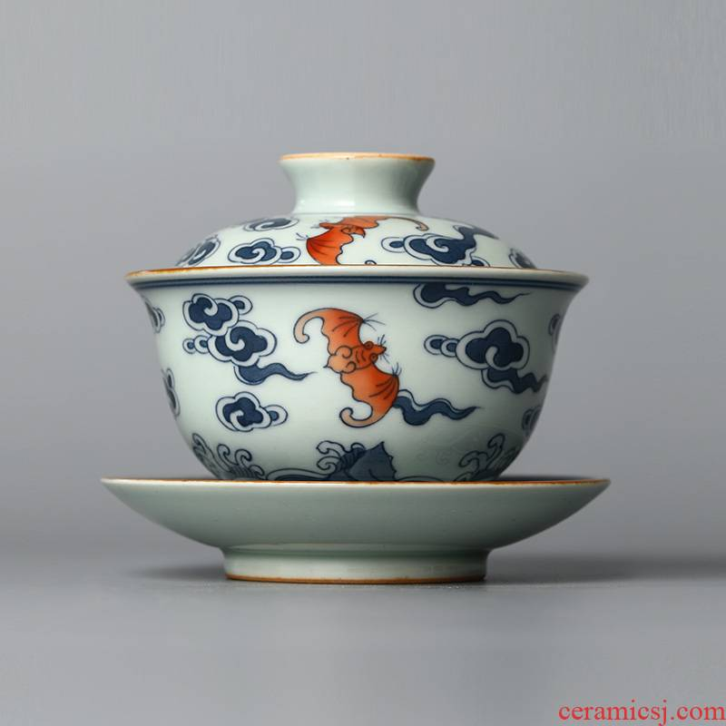 Jingdezhen tea only three tureen tea cups large hot checking porcelain hand - made ceramic bowl with restoring ancient ways