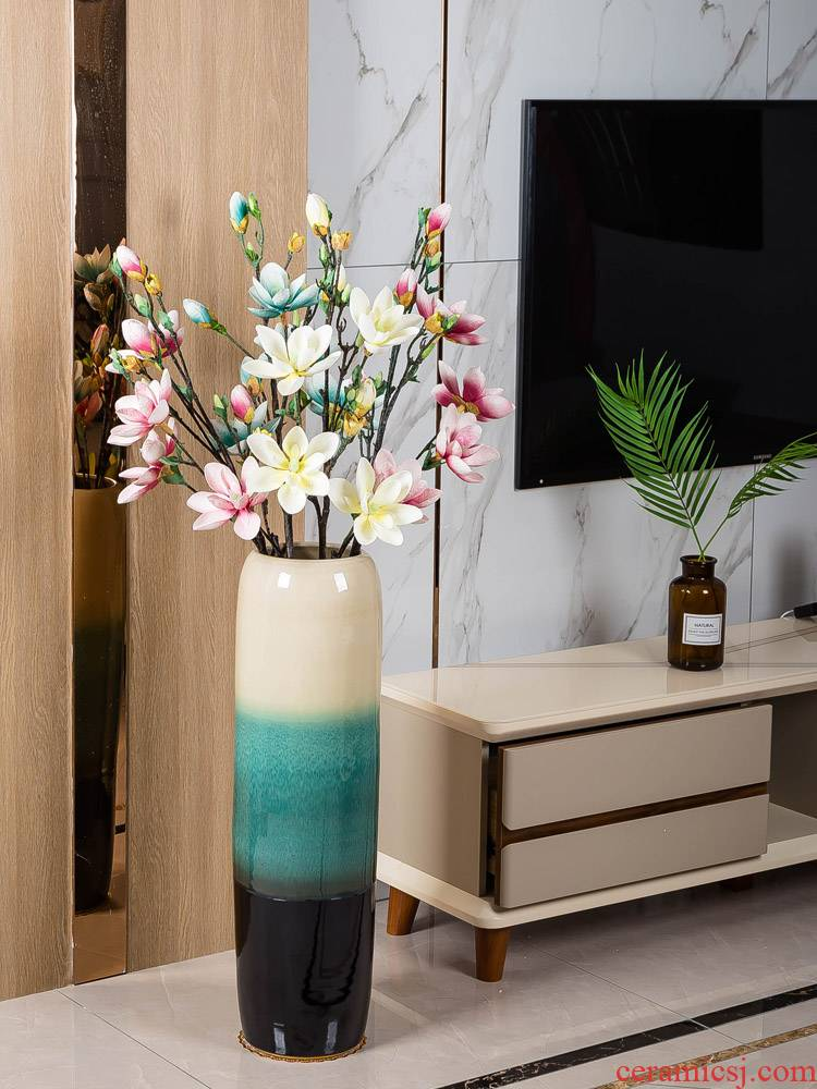 Jingdezhen ground vase large - sized ceramic dry flower is placed I and contracted sitting room of Chinese style porch decoration flower arrangement