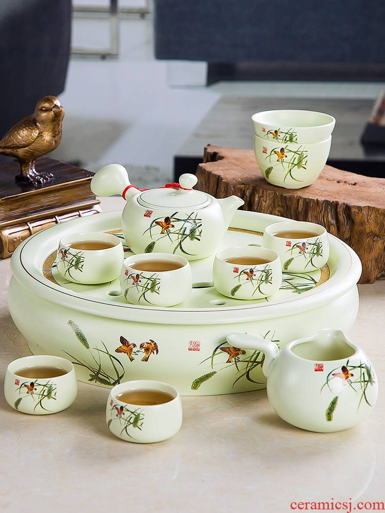 The Home of kung fu tea tea tea set office high - grade jingdezhen ceramic teapot teacup of a complete set of ground