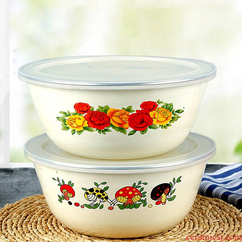 Enamel bowls with cover nostalgic old pig salad bowl of soup bowl large household kitchen thickening tank preservation storage use